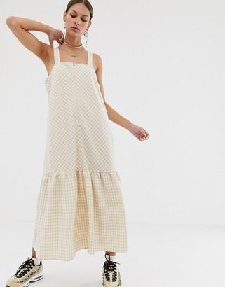 Résumé Resume Oxford gingham midi swing dress-Cream