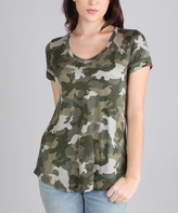 Green Camouflage V-Neck Tee