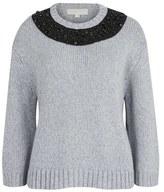 MICHAEL Michael Kors Women's Beaded Neck Boxy Sweatshirt Pearl Heather
