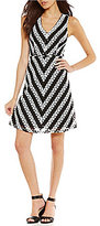 Adrianna Papell V-Neck Striped Lace Fit & Flare Dress