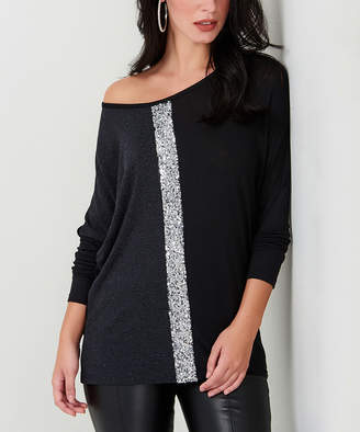 Milan Kiss Women's Blouses ANTHRACITE - Anthracite Sequin Off-Shoulder Top - Women