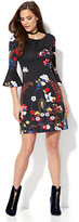 New York & Co. Must-Have Bell-Sleeve Printed Flare Dress - Black