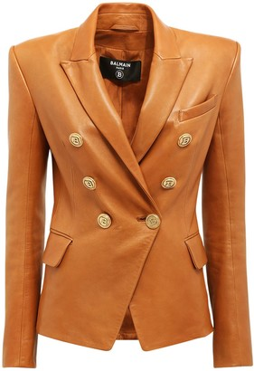 Balmain Fitted Leather Double Breast Jacket
