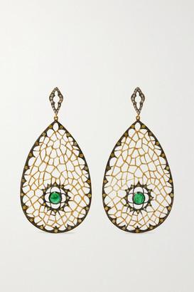 Loree Rodkin Spiderweb 18-karat Rhodium Gold, Emerald And Diamond Earrings