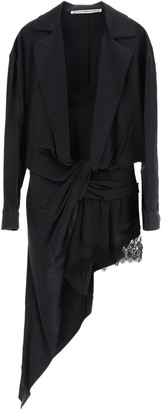 Alexander Wang ASYMMETRICAL SATIN MINI DRESS WITH LACE 6 Black Silk