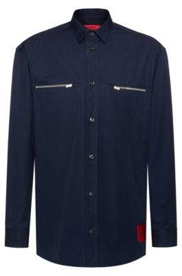 HUGO Oversized-fit shirt in cotton with zipped chest pockets