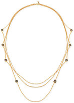 T Tahari Gold-Tone Black and Clear Crystal Long Multi-Layer Necklace