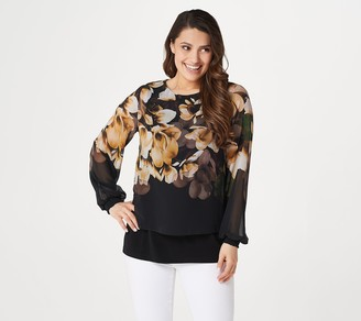 Susan Graver Liquid Knit Top with Printed Chiffon Overlay