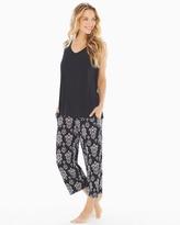 Soma Intimates Cool Night Crop Pants Pajama Set Bold Ikat Black