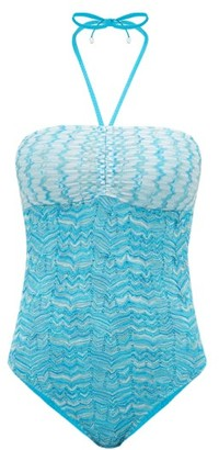 Missoni Mare - Zigzag Knitted-mesh Swimsuit - Womens - Blue