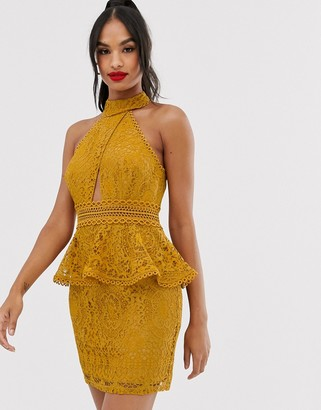 Asos Design DESIGN mini dress with high neck and lace trim with peplum-Gold