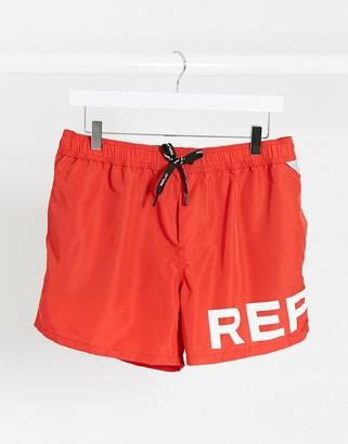 Replay logo swim shorts in red