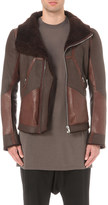 Rick Owens Shearling collar leather jacket