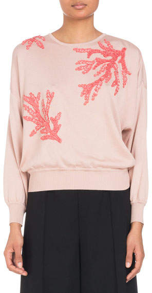 Andrew Gn Coral-Sequin Embroidery Crewneck Knit Sweater