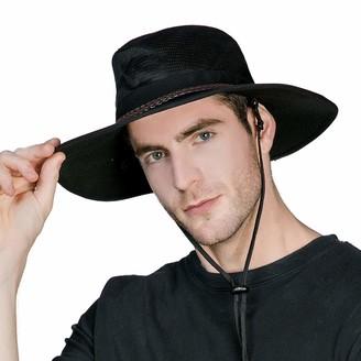 Comhats UPF 50+ Crushable Soft Aussie Mesh Breezer Hat - Wide Brim Safari Sun Hat Chin Strap- Fishing Hiking Walking Hat - Bush Outback Trekking Hat Black 58cm