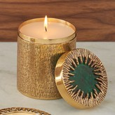 The Well Appointed House Global Views Crimped Box Brass and Malachite Poured Candle