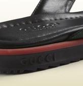 Gucci Sl73 Beach Black Leather Thong Sandal