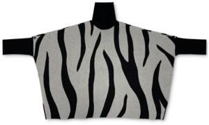 Alfani Plus Size Zebra-Print Poncho Sweater, Created for Macy's