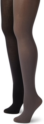 MUSIC LEGS Women's 2 Pack Opaque Solid Tights