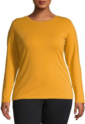 Lord & Taylor Plus Long Sleeve Essential Cotton T-Shirt