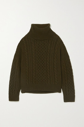 &Daughter Net Sustain Alva Cable-knit Wool Turtleneck Sweater - Army green