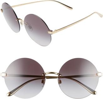 Dolce & Gabbana 62mm Oversize Gradient Rimless Round Sunglasses