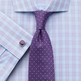 Charles Tyrwhitt Classic Fit City Gingham Spread Collar Lilac Cotton Dress Shirt Single Cuff Size 15.5/37