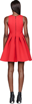 MSGM Red Neoprene Pleated Dress