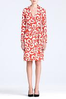 Diane von Furstenberg New Jeanne Two Silk Jersey Wrap Dress In Spiral Ferns Large Hot Coral