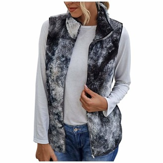 millenniums Womens Winter Fleece Waistcoat Ladies Autumn Tie-Dye Sleeveless Casual Jacket Body Warmer with Pockets Fluffy Cardigan Open Front Plush Lined Gilet Vest (Black XL)