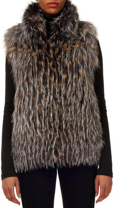 Gorski Silver Fox & Red Fox Fur Vertical Layer Vest