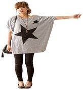 Orangeskycn Women Long Loose Batwing Dolman Sleeve T-Shirt Casual Star Blouse Tops