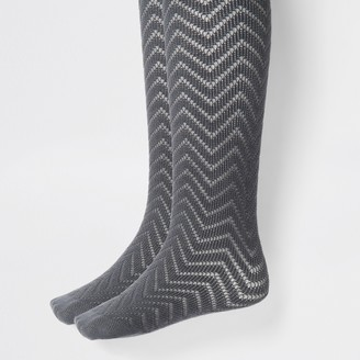 River Island Girls Grey knitted tights 2 pack