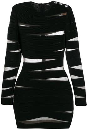 Balmain stripe bandage bodycon dress