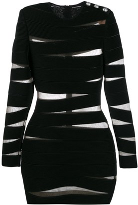 Balmain Sheer Panelling Bodycon Dress