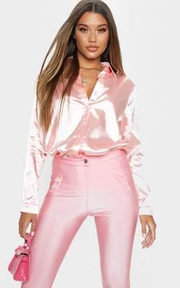 PrettyLittleThing Pink Oversized Satin Shirt