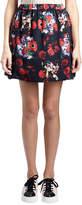 Kenzo Antonio Smocked Floral Silk Satin Skirt, Red/Multicolor