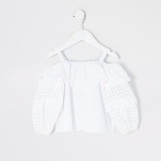 River Island Mini girls White check puff sleeve blouse