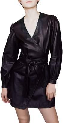Maje Rosetola Leather Wrap Dress