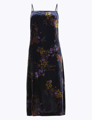 Per Una Per UnaMarks and Spencer Velvet Floral Print Slip Midi Dress