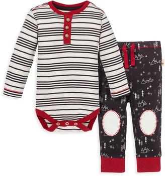 Burt's Bees Minty Stripe Organic Baby Bodysuit and Snowcap Mountains Pant Set