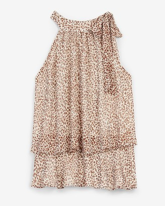 Express Leopard Print Layered Tie Neck Tank