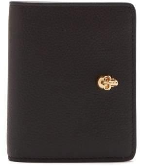 Alexander McQueen Skull Plaque Grained Leather Wallet - Womens - Black