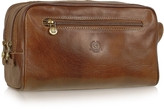 Chiarugi Handmade Brown Genuine Italian Leather Toiletry Travel Kit