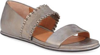 Gentle Souls Lark Flat Metallic Leather Ruffle Sandals
