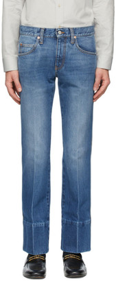 Gucci Blue Denim High-Waisted Bootcut Jeans
