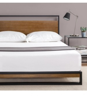 Zinus Suzanne Metal and Wood Platform Bed with Headboard, King