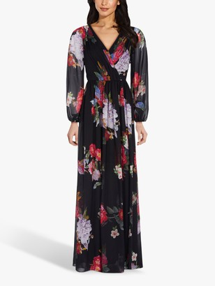 Adrianna Papell Chiffon Floral Maxi Gown, Black/Multi