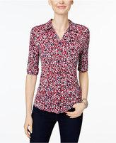 Charter Club Printed Roll-Tab Shirt, Only at Macys