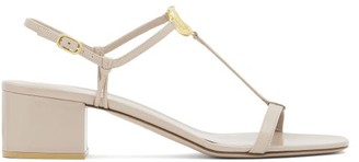 Valentino V-logo Block-heel Leather Sandals - Nude